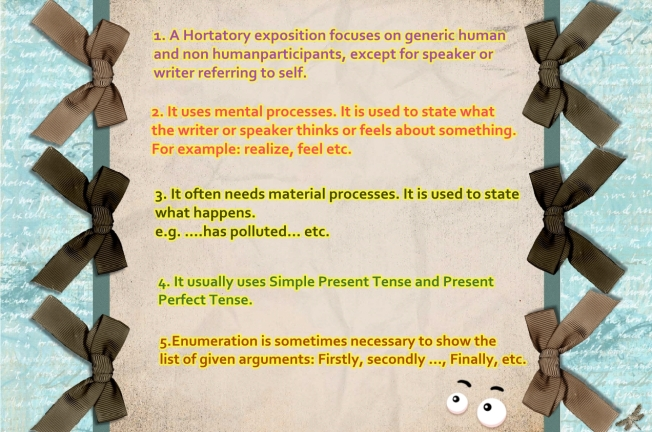 writing and hortatory exposition Hortatory exposition is a special type of essay or paragraph in which the author tries to get the reader to react or believe in a certain way it includes.